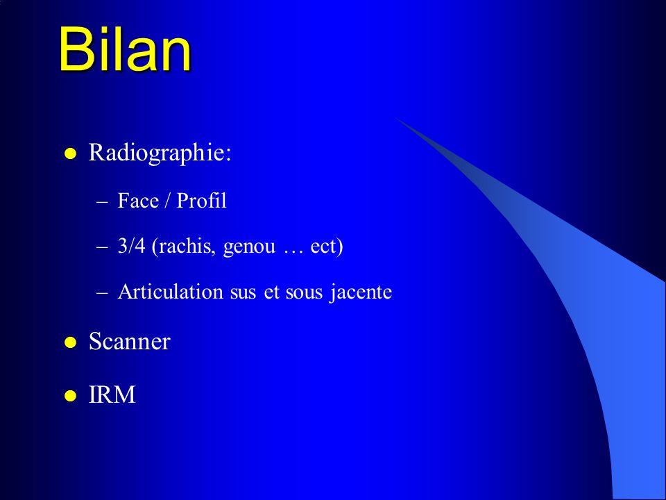 Bilan Radiographie: –Face / Profil –3/4 (rachis, genou … ect) –Articulation sus et sous jacente Scanner IRM