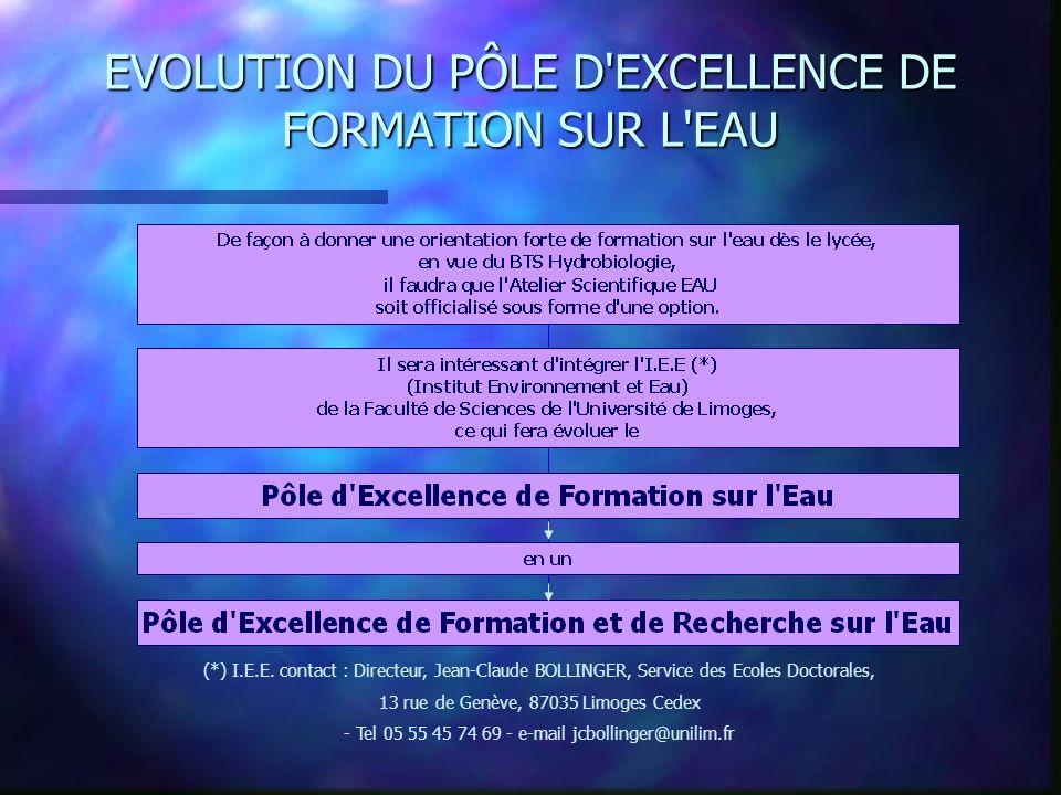 EVOLUTION DU PÔLE D EXCELLENCE DE FORMATION SUR L EAU (*) I.E.E.