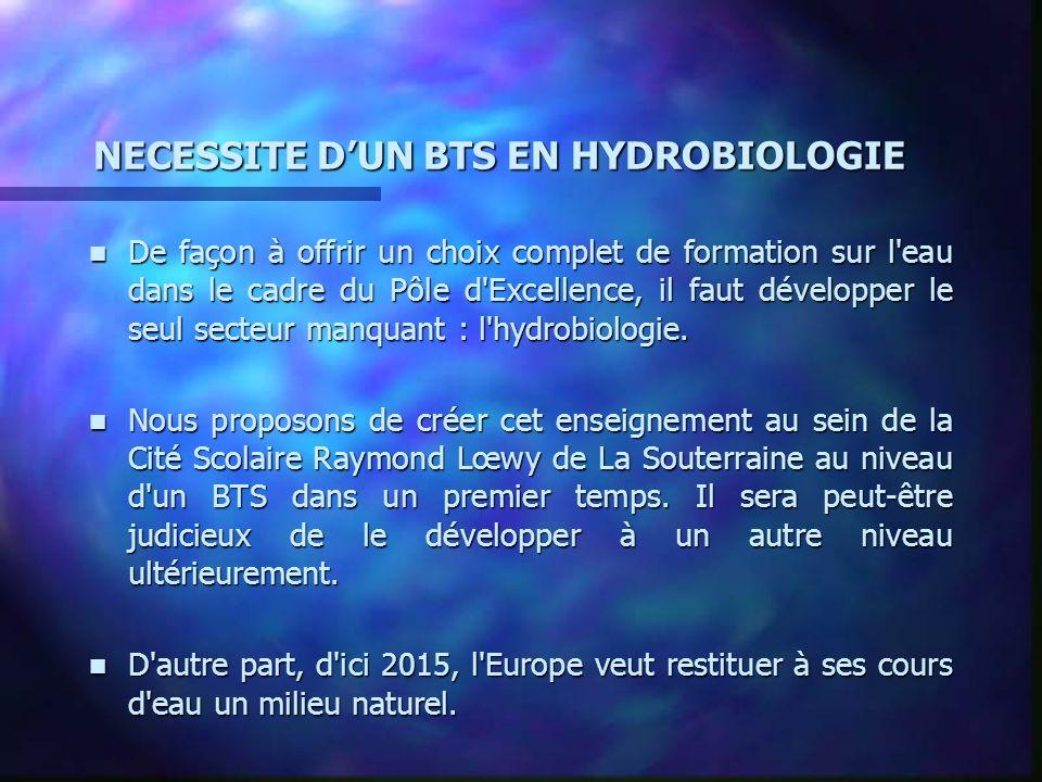 NECESSITE DUN BTS EN HYDROBIOLOGIE n De façon à offrir un choix complet de formation sur l eau dans le cadre du Pôle d Excellence, il faut développer le seul secteur manquant : l hydrobiologie.