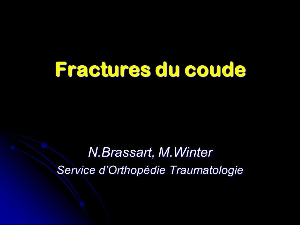 Fractures du coude N.Brassart, M.Winter Service dOrthopédie Traumatologie