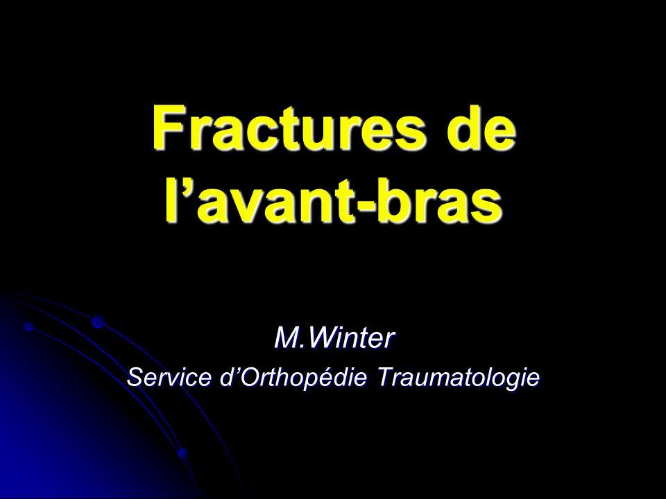 Fractures de lavant-bras M.Winter Service dOrthopédie Traumatologie