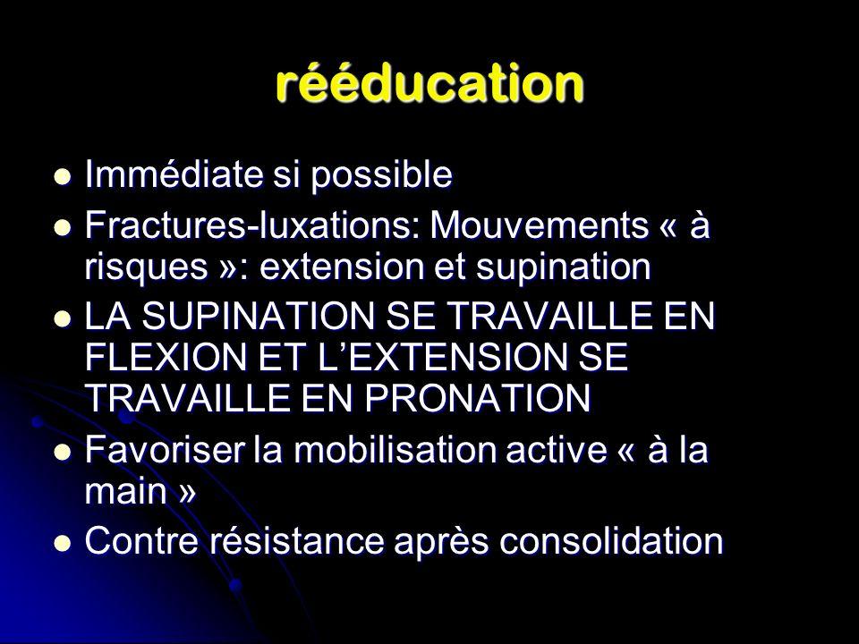 rééducation Immédiate si possible Immédiate si possible Fractures-luxations: Mouvements « à risques »: extension et supination Fractures-luxations: Mouvements « à risques »: extension et supination LA SUPINATION SE TRAVAILLE EN FLEXION ET LEXTENSION SE TRAVAILLE EN PRONATION LA SUPINATION SE TRAVAILLE EN FLEXION ET LEXTENSION SE TRAVAILLE EN PRONATION Favoriser la mobilisation active « à la main » Favoriser la mobilisation active « à la main » Contre résistance après consolidation Contre résistance après consolidation