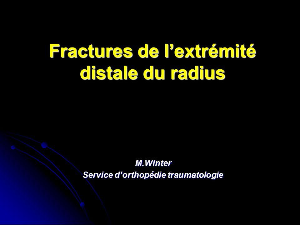 Fractures de lextrémité distale du radius M.Winter Service dorthopédie traumatologie