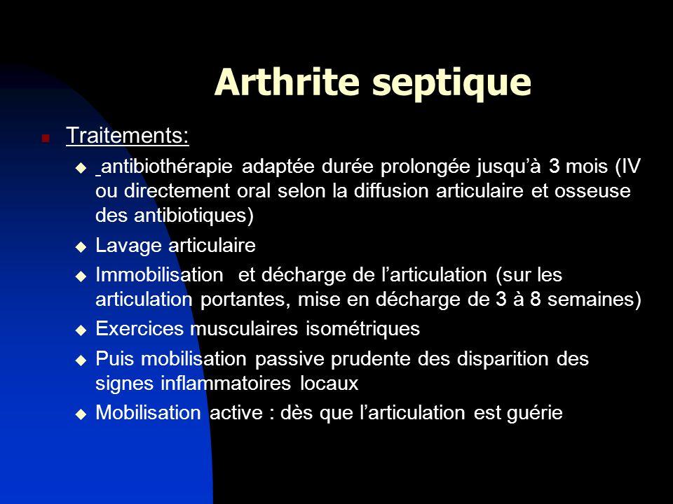 Arthrite septique Traitements: antibiothérapie adaptée durée prolongée jusquà 3 mois (IV ou directement oral selon la diffusion articulaire et osseuse