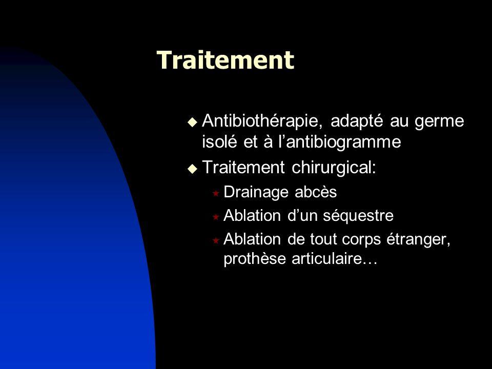 Traitement Antibiothérapie, adapté au germe isolé et à lantibiogramme Traitement chirurgical: Drainage abcès Ablation dun séquestre Ablation de tout c