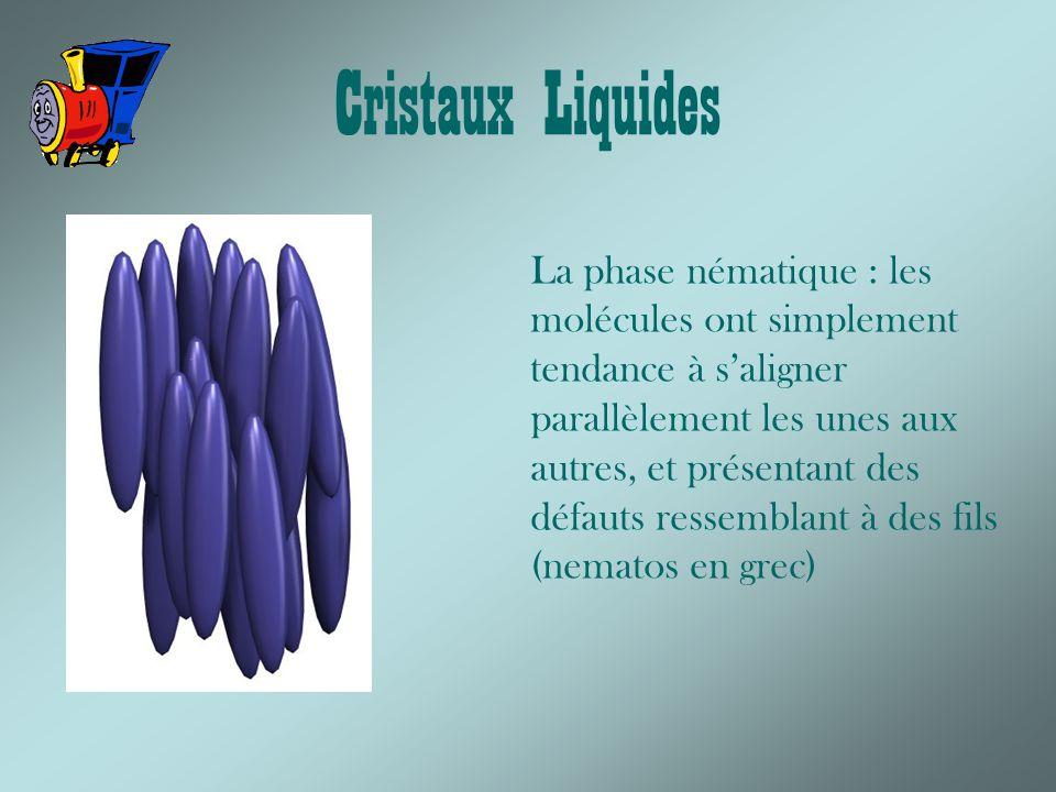 Cristaux Liquides La phase nématique : les molécules ont simplement tendance à saligner parallèlement les unes aux autres, et présentant des défauts ressemblant à des fils (nematos en grec)