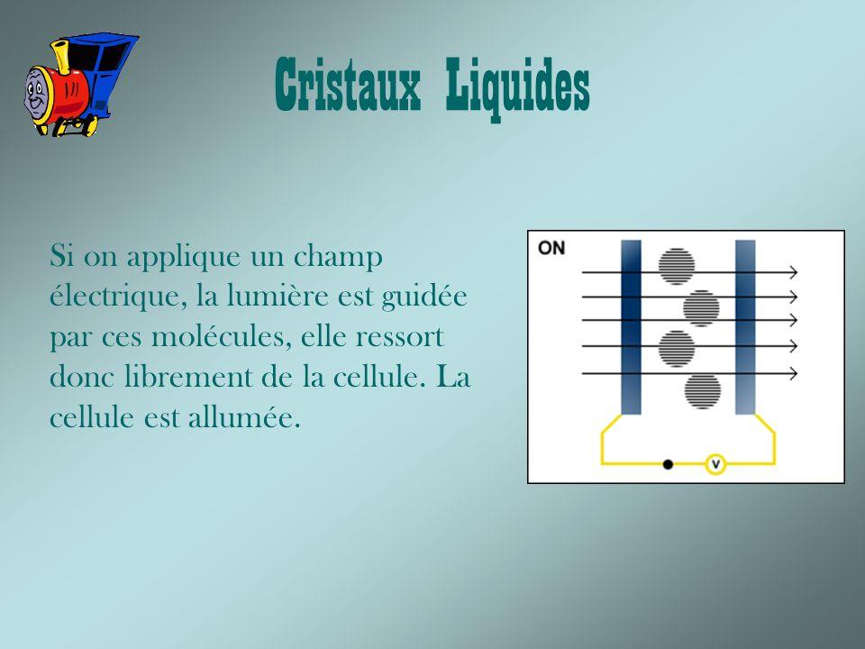 Cristaux Liquides Si on applique un champ électrique, la lumière est guidée par ces molécules, elle ressort donc librement de la cellule.