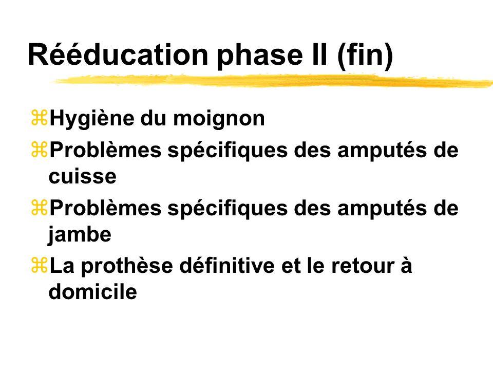 Rééducation phase II (fin) zHygiène du moignon zProblèmes spécifiques des amputés de cuisse zProblèmes spécifiques des amputés de jambe zLa prothèse définitive et le retour à domicile