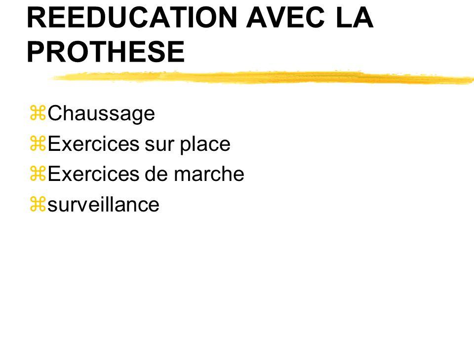 REEDUCATION AVEC LA PROTHESE zChaussage zExercices sur place zExercices de marche zsurveillance
