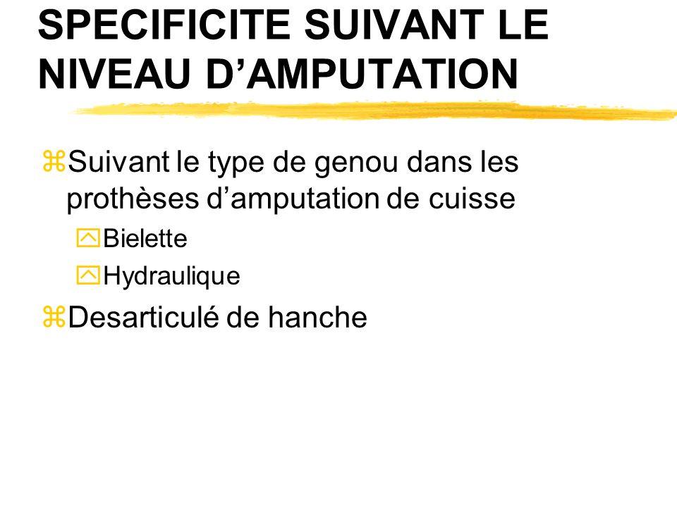 SPECIFICITE SUIVANT LE NIVEAU DAMPUTATION zSuivant le type de genou dans les prothèses damputation de cuisse yBielette yHydraulique zDesarticulé de hanche