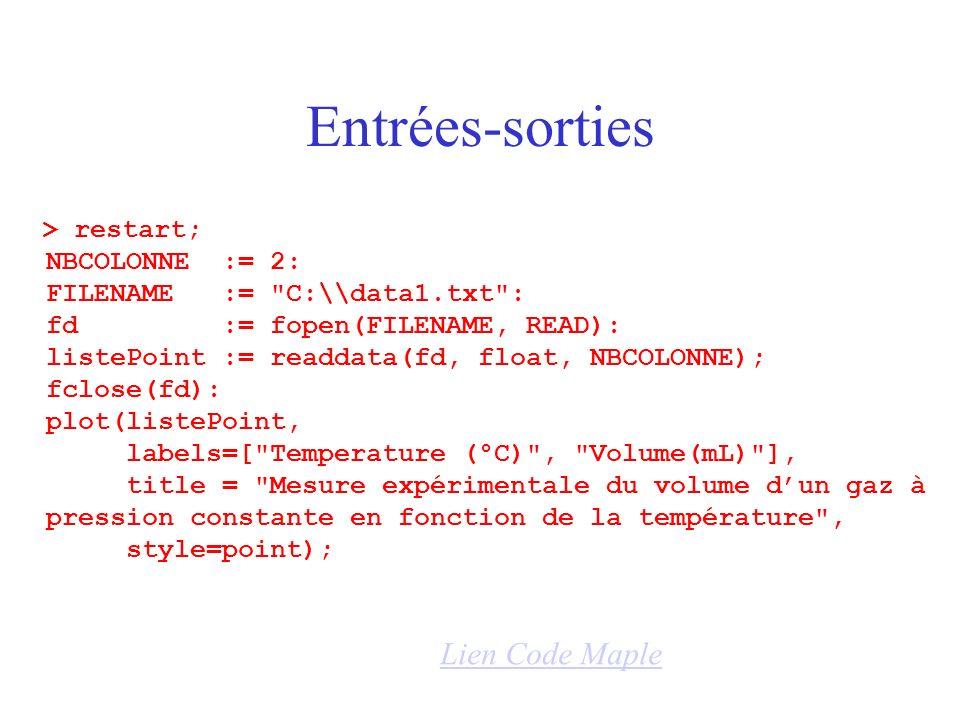 Entrées-sorties > restart; NBCOLONNE := 2: FILENAME := C:\\data1.txt : fd := fopen(FILENAME, READ): listePoint := readdata(fd, float, NBCOLONNE); fclose(fd): plot(listePoint, labels=[ Temperature (°C) , Volume(mL) ], title = Mesure expérimentale du volume dun gaz à pression constante en fonction de la température , style=point); Lien Code Maple