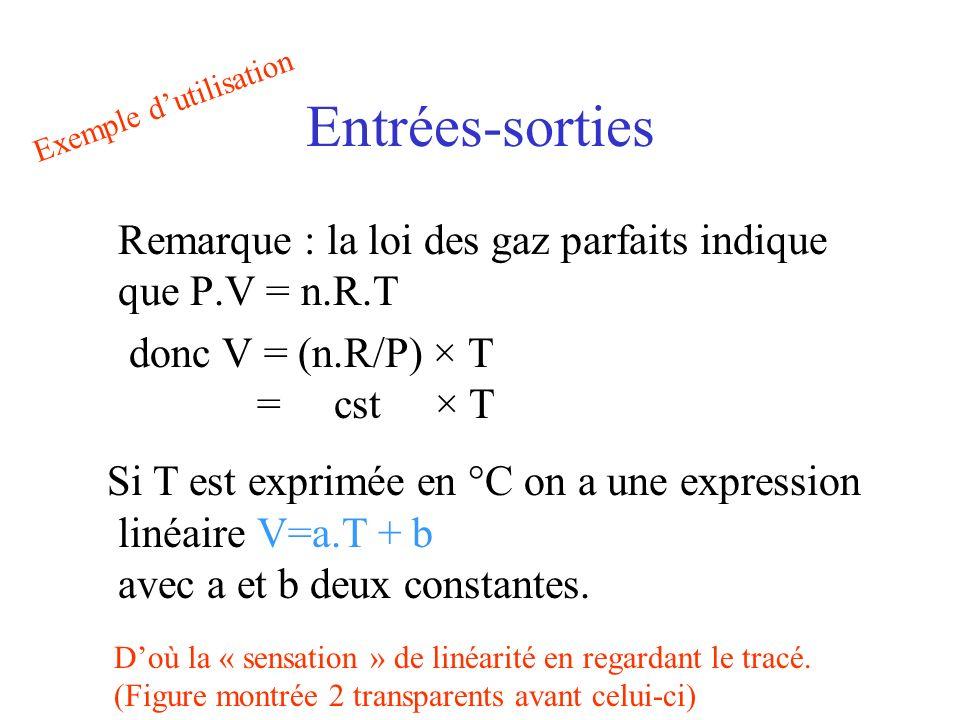 Entrées-sorties Remarque : la loi des gaz parfaits indique que P.V = n.R.T donc V = (n.R/P) × T = cst × T Si T est exprimée en °C on a une expression linéaire V=a.T + b avec a et b deux constantes.