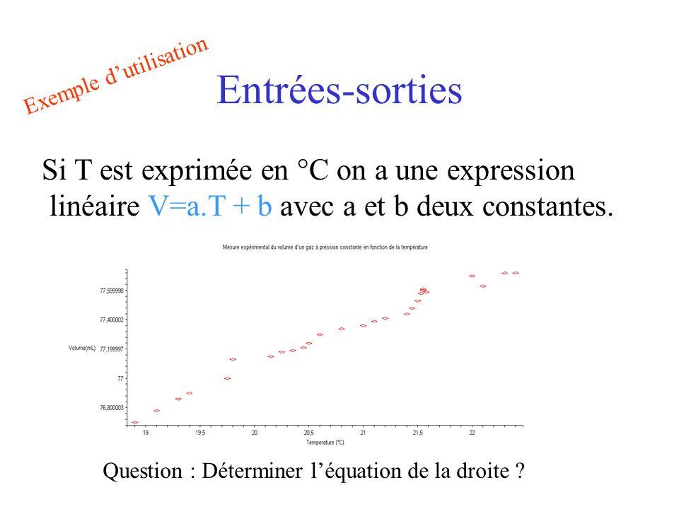 Entrées-sorties Si T est exprimée en °C on a une expression linéaire V=a.T + b avec a et b deux constantes.