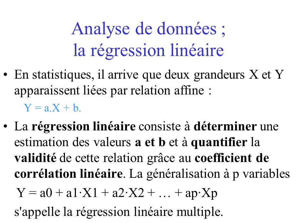 Analyse de données ; la régression linéaire En statistiques, il arrive que deux grandeurs X et Y apparaissent liées par relation affine : Y = a.X + b.