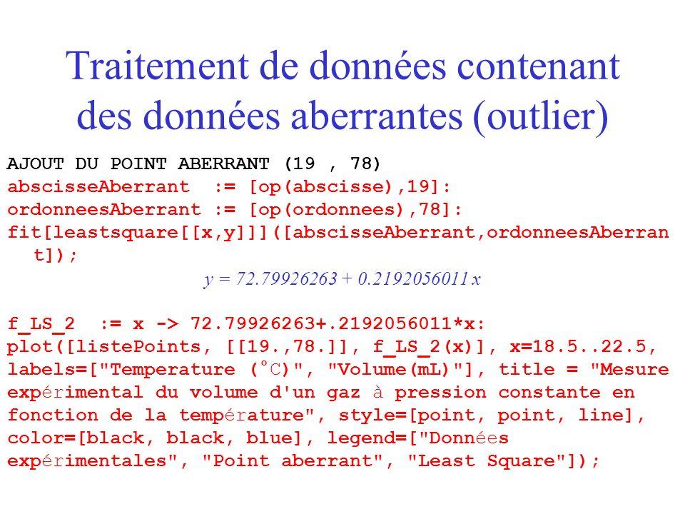 Traitement de données contenant des données aberrantes (outlier) AJOUT DU POINT ABERRANT (19, 78) abscisseAberrant := [op(abscisse),19]: ordonneesAberrant := [op(ordonnees),78]: fit[leastsquare[[x,y]]]([abscisseAberrant,ordonneesAberran t]); y = 72.79926263 + 0.2192056011 x f_LS_2 := x -> 72.79926263+.2192056011*x: plot([listePoints, [[19.,78.]], f_LS_2(x)], x=18.5..22.5, labels=[ Temperature (°C) , Volume(mL) ], title = Mesure expérimental du volume d un gaz à pression constante en fonction de la température , style=[point, point, line], color=[black, black, blue], legend=[ Données expérimentales , Point aberrant , Least Square ]);