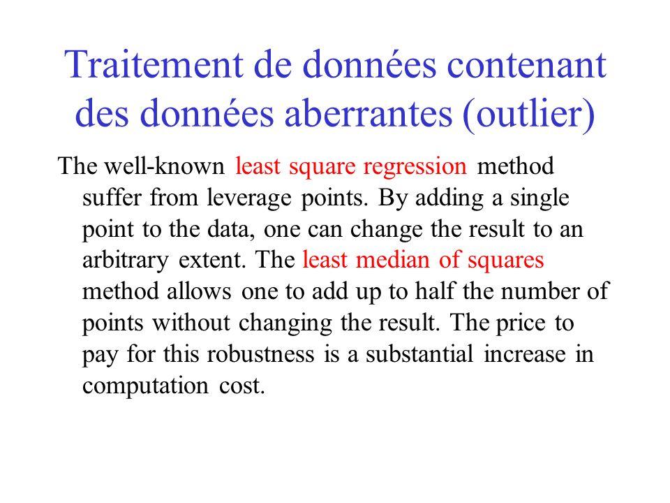 Traitement de données contenant des données aberrantes (outlier) The well-known least square regression method suffer from leverage points.