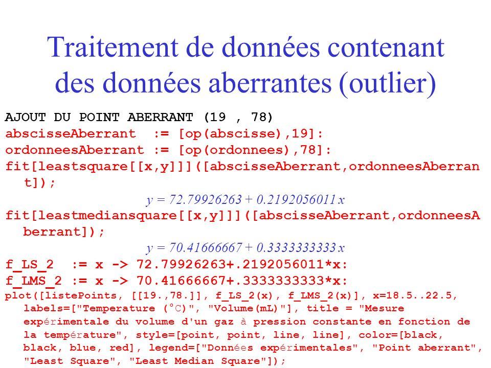 AJOUT DU POINT ABERRANT (19, 78) abscisseAberrant := [op(abscisse),19]: ordonneesAberrant := [op(ordonnees),78]: fit[leastsquare[[x,y]]]([abscisseAberrant,ordonneesAberran t]); y = 72.79926263 + 0.2192056011 x fit[leastmediansquare[[x,y]]]([abscisseAberrant,ordonneesA berrant]); y = 70.41666667 + 0.3333333333 x f_LS_2 := x -> 72.79926263+.2192056011*x: f_LMS_2 := x -> 70.41666667+.3333333333*x: plot([listePoints, [[19.,78.]], f_LS_2(x), f_LMS_2(x)], x=18.5..22.5, labels=[ Temperature (°C) , Volume(mL) ], title = Mesure expérimentale du volume d un gaz à pression constante en fonction de la température , style=[point, point, line, line], color=[black, black, blue, red], legend=[ Données expérimentales , Point aberrant , Least Square , Least Median Square ]);
