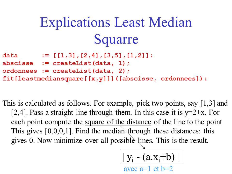 Explications Least Median Squarre data := [[1,3],[2,4],[3,5],[1,2]]: abscisse := createList(data, 1); ordonnees := createList(data, 2); fit[leastmediansquare[[x,y]]]([abscisse, ordonnees]); This is calculated as follows.