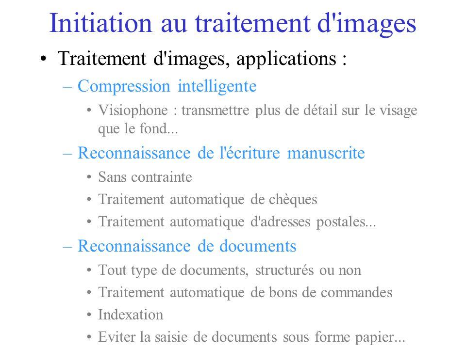 Traitement d images, applications : –Compression intelligente Visiophone : transmettre plus de détail sur le visage que le fond...