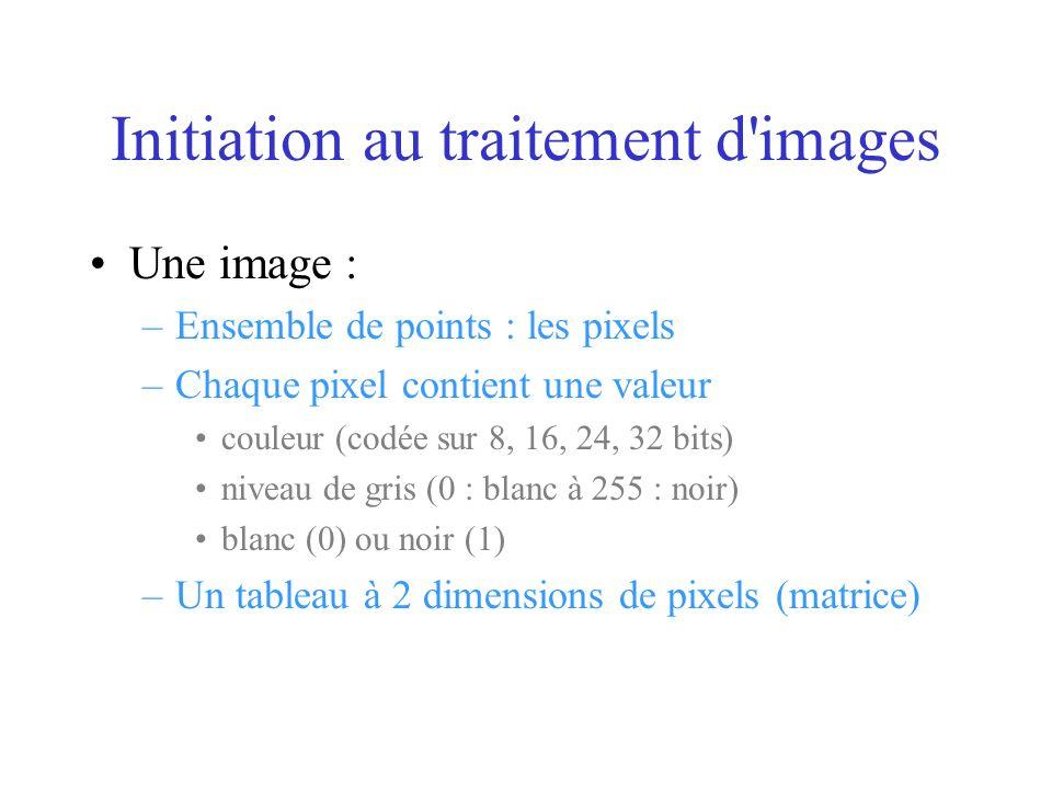 Une image : –Ensemble de points : les pixels –Chaque pixel contient une valeur couleur (codée sur 8, 16, 24, 32 bits) niveau de gris (0 : blanc à 255 : noir) blanc (0) ou noir (1) –Un tableau à 2 dimensions de pixels (matrice)