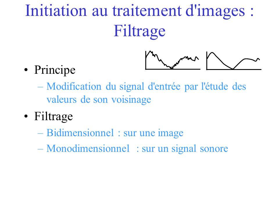 Initiation au traitement d images : Filtrage Principe –Modification du signal d entrée par l étude des valeurs de son voisinage Filtrage –Bidimensionnel : sur une image –Monodimensionnel : sur un signal sonore