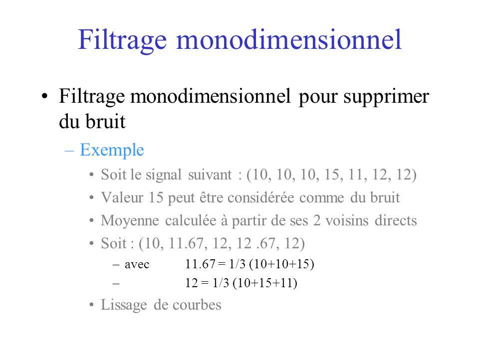 Filtrage monodimensionnel Filtrage monodimensionnel pour supprimer du bruit –Exemple Soit le signal suivant : (10, 10, 10, 15, 11, 12, 12) Valeur 15 peut être considérée comme du bruit Moyenne calculée à partir de ses 2 voisins directs Soit : (10, 11.67, 12, 12.67, 12) –avec 11.67 = 1/3 (10+10+15) –12 = 1/3 (10+15+11) Lissage de courbes