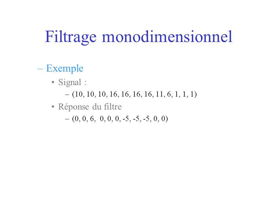 Filtrage monodimensionnel –Exemple Signal : –(10, 10, 10, 16, 16, 16, 16, 11, 6, 1, 1, 1) Réponse du filtre –(0, 0, 6, 0, 0, 0, -5, -5, -5, 0, 0)