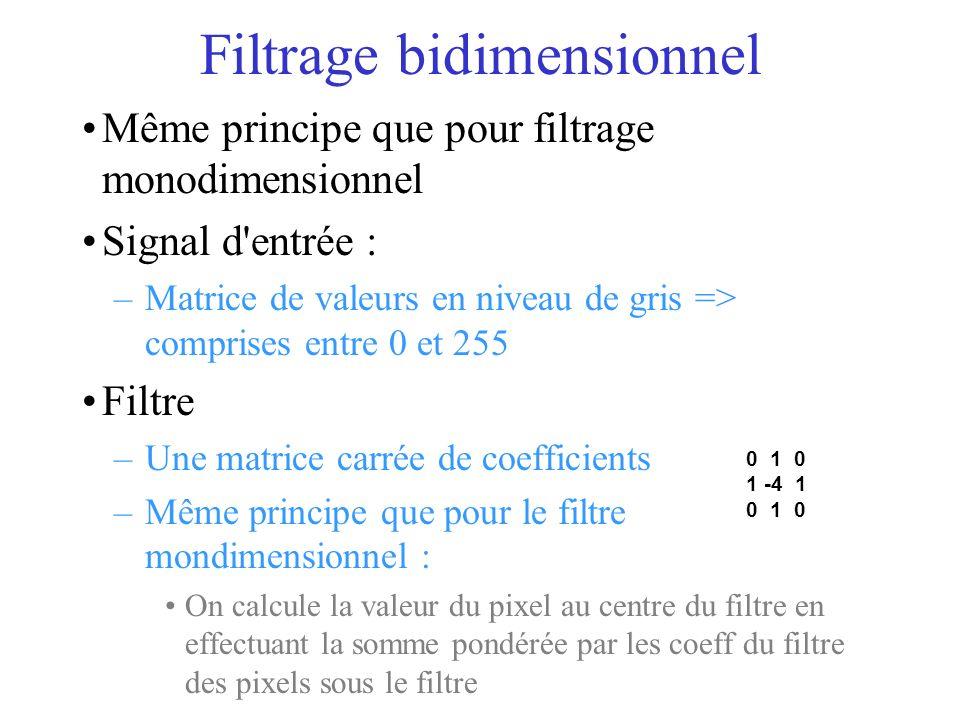 Même principe que pour filtrage monodimensionnel Signal d entrée : –Matrice de valeurs en niveau de gris => comprises entre 0 et 255 Filtre –Une matrice carrée de coefficients –Même principe que pour le filtre mondimensionnel : On calcule la valeur du pixel au centre du filtre en effectuant la somme pondérée par les coeff du filtre des pixels sous le filtre Filtrage bidimensionnel 0 1 0 1 -4 1 0 1 0