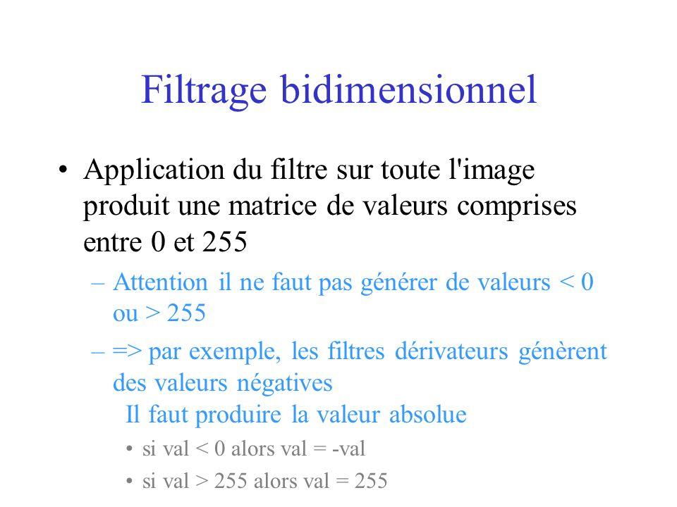 Filtrage bidimensionnel Application du filtre sur toute l image produit une matrice de valeurs comprises entre 0 et 255 –Attention il ne faut pas générer de valeurs 255 –=> par exemple, les filtres dérivateurs génèrent des valeurs négatives Il faut produire la valeur absolue si val < 0 alors val = -val si val > 255 alors val = 255