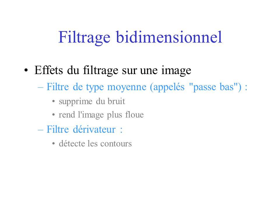 Filtrage bidimensionnel Effets du filtrage sur une image –Filtre de type moyenne (appelés passe bas ) : supprime du bruit rend l image plus floue –Filtre dérivateur : détecte les contours