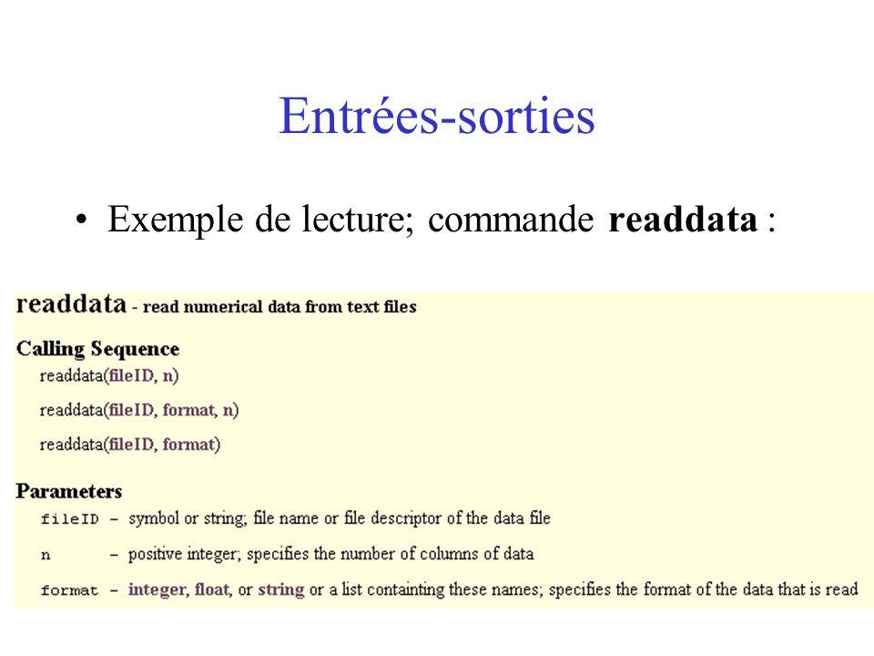 Entrées-sorties Exemple de lecture; commande readdata :