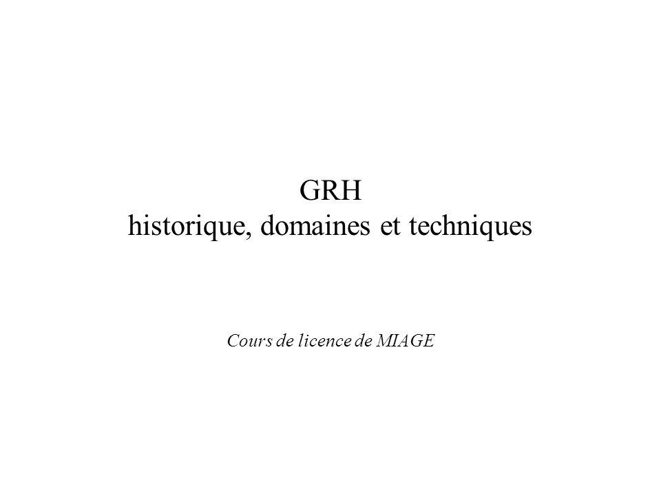 GRH historique, domaines et techniques Cours de licence de MIAGE