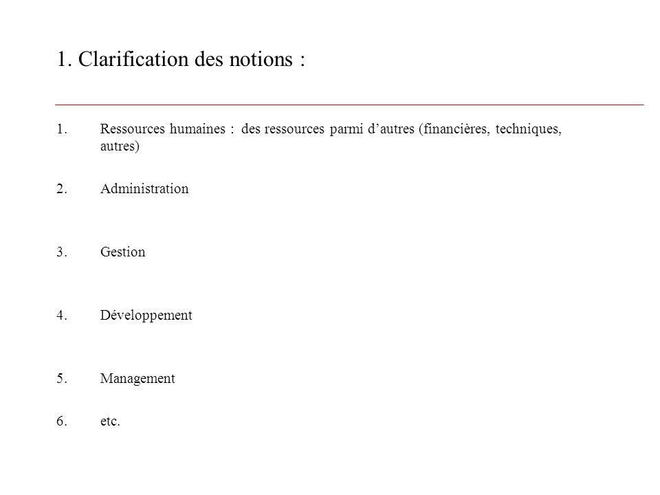 1. Clarification des notions : 1.Ressources humaines : des ressources parmi dautres (financières, techniques, autres) 2.Administration 3.Gestion 4.Dév
