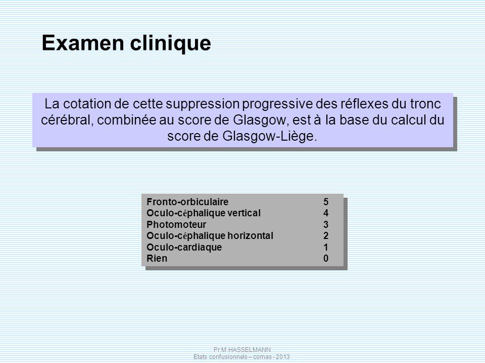 Pr M HASSELMANN Etats confusionnels – comas - 2013 Examen clinique La cotation de cette suppression progressive des réflexes du tronc cérébral, combin