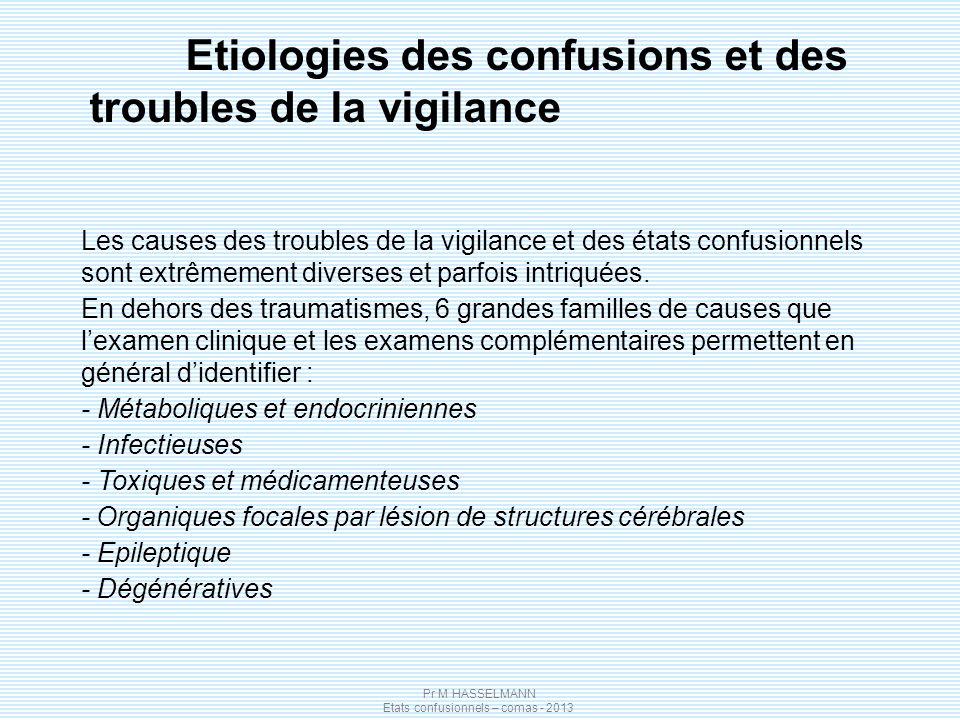 Pr M HASSELMANN Etats confusionnels – comas - 2013 Les causes des troubles de la vigilance et des états confusionnels sont extrêmement diverses et par