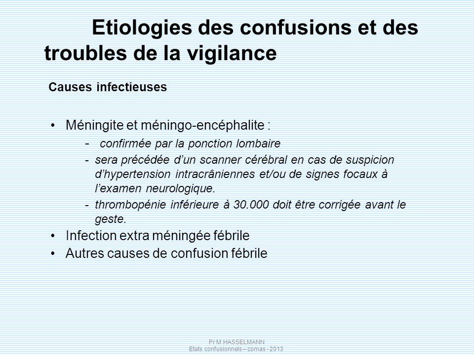Pr M HASSELMANN Etats confusionnels – comas - 2013 Etiologies des confusions et des troubles de la vigilance Causes infectieuses Méningite et méningo-