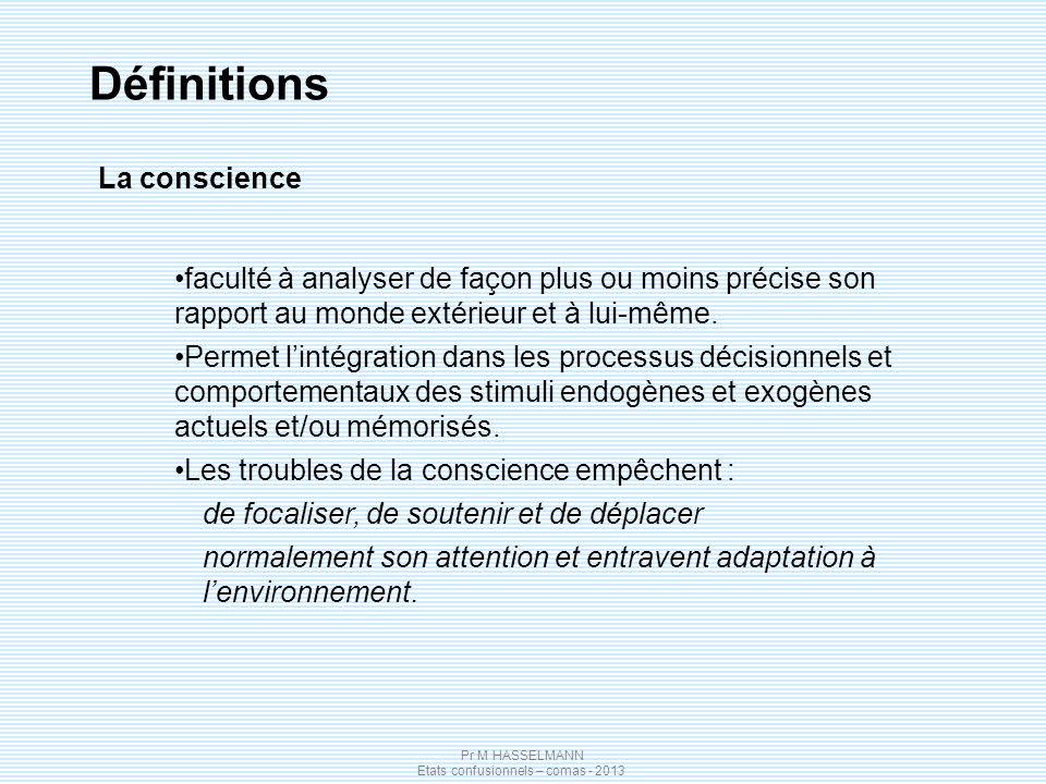Pr M HASSELMANN Etats confusionnels – comas - 2013 Définitions La conscience faculté à analyser de façon plus ou moins précise son rapport au monde extérieur et à lui-même.