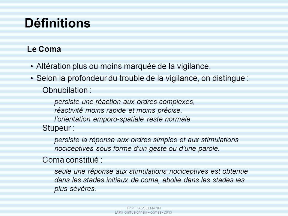 Pr M HASSELMANN Etats confusionnels – comas - 2013 Définitions Le Coma Altération plus ou moins marquée de la vigilance. Selon la profondeur du troubl