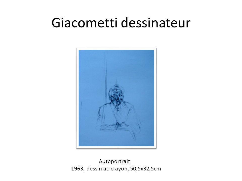 Giacometti dessinateur Autoportrait 1963, dessin au crayon, 50,5x32,5cm