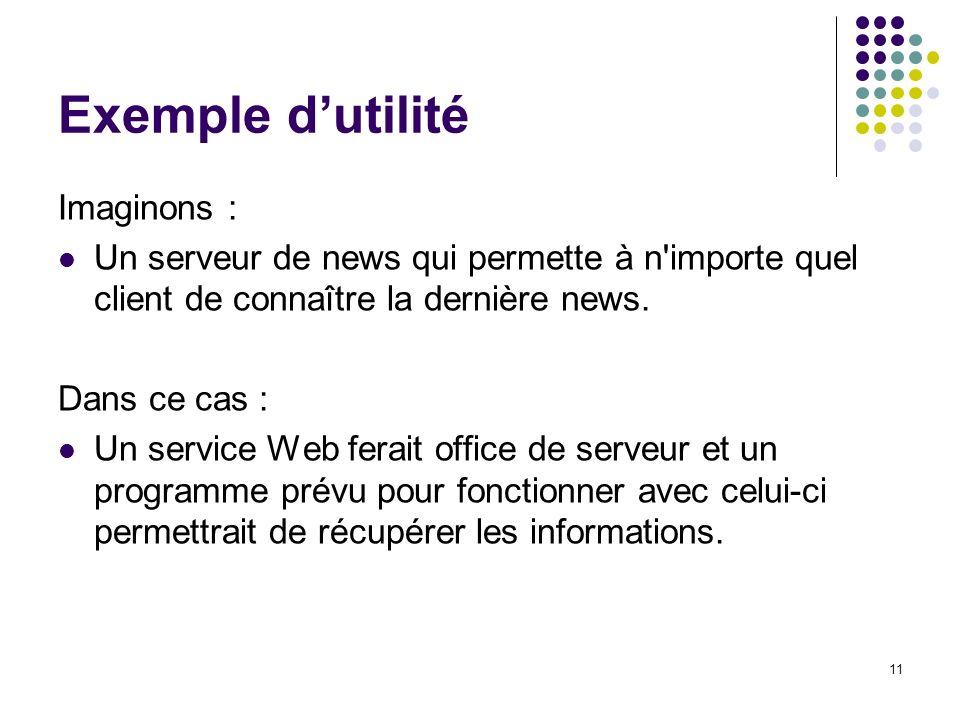 11 Exemple dutilité Imaginons : Un serveur de news qui permette à n'importe quel client de connaître la dernière news. Dans ce cas : Un service Web fe