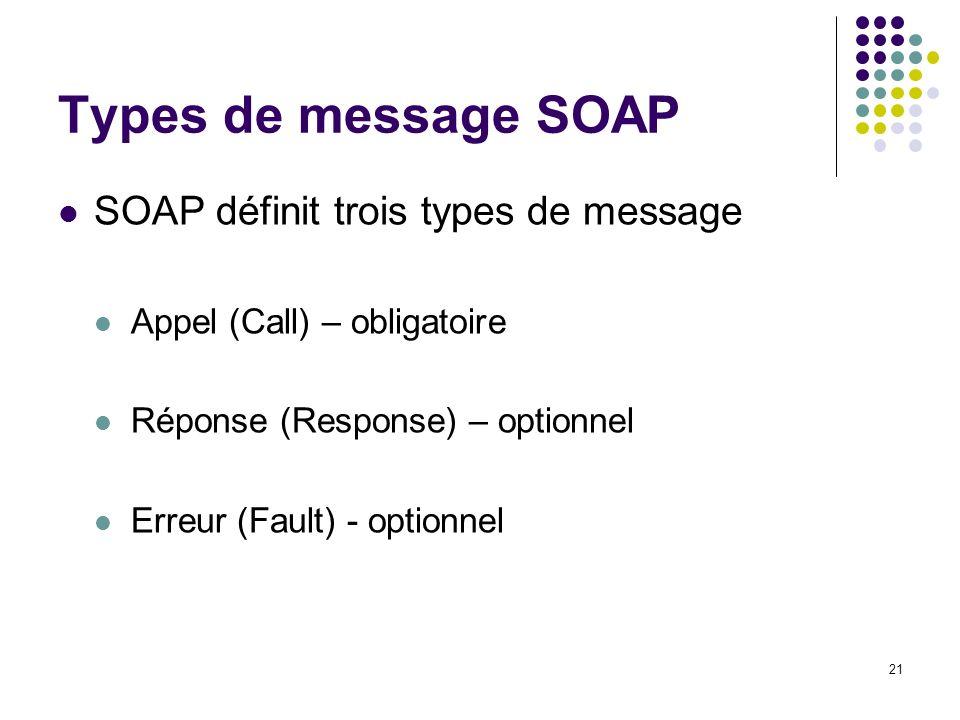 21 Types de message SOAP SOAP définit trois types de message Appel (Call) – obligatoire Réponse (Response) – optionnel Erreur (Fault) - optionnel
