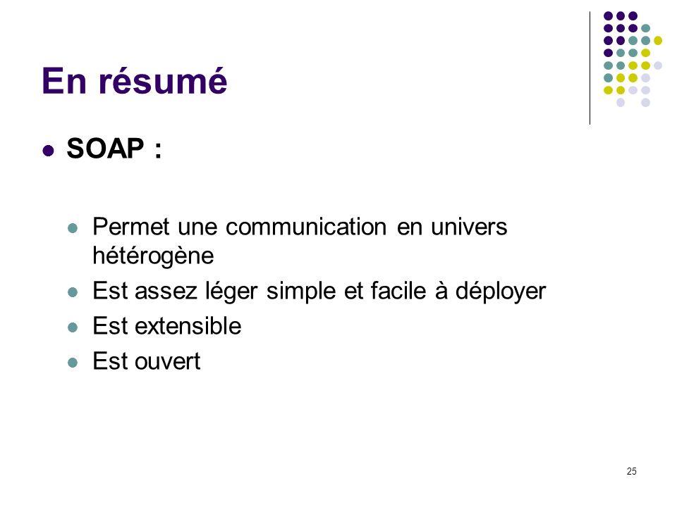 25 En résumé SOAP : Permet une communication en univers hétérogène Est assez léger simple et facile à déployer Est extensible Est ouvert
