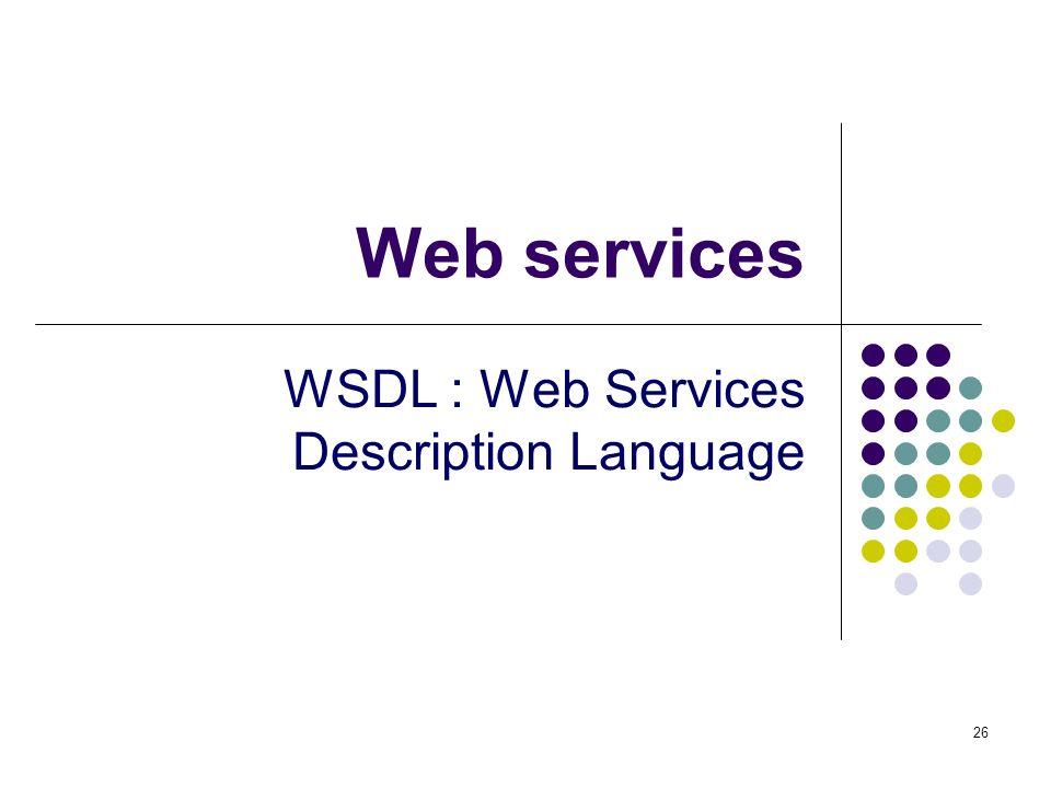 26 Web services WSDL : Web Services Description Language