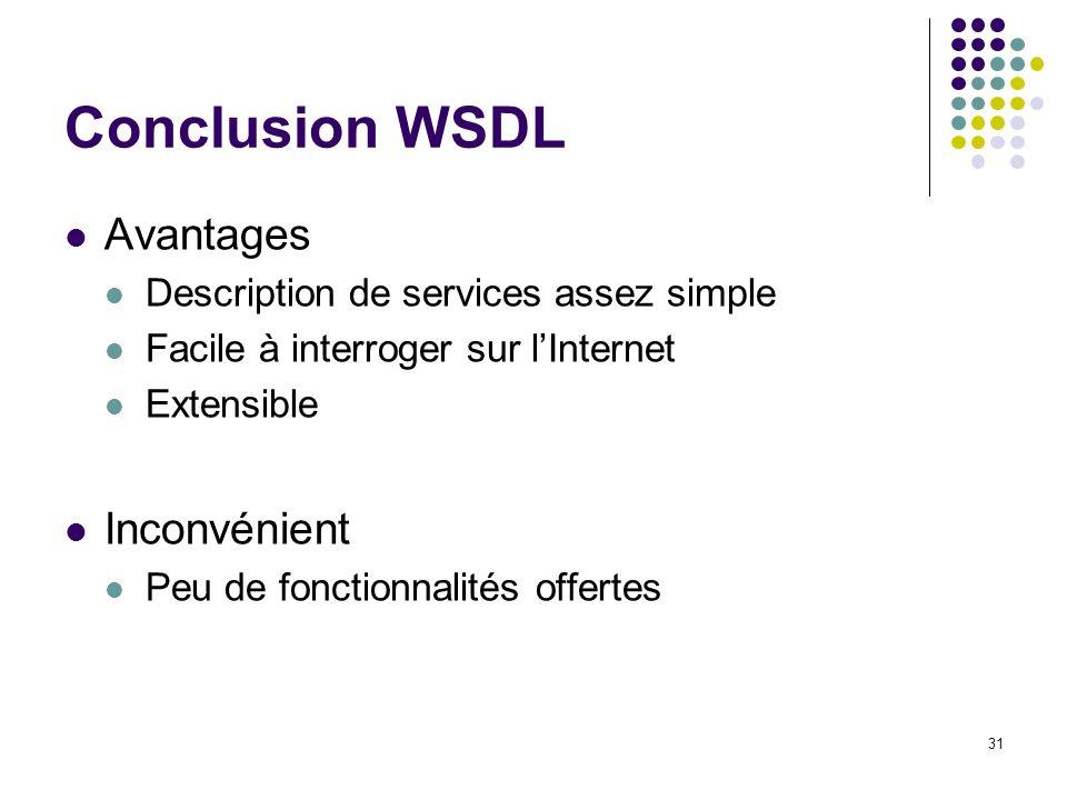 31 Conclusion WSDL Avantages Description de services assez simple Facile à interroger sur lInternet Extensible Inconvénient Peu de fonctionnalités off