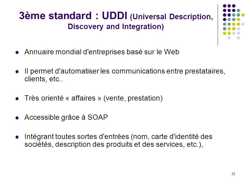 33 3ème standard : UDDI (Universal Description, Discovery and Integration) Annuaire mondial d'entreprises basé sur le Web Il permet d'automatiser les