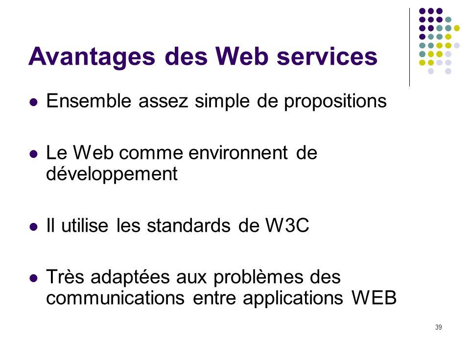 39 Avantages des Web services Ensemble assez simple de propositions Le Web comme environnent de développement Il utilise les standards de W3C Très ada