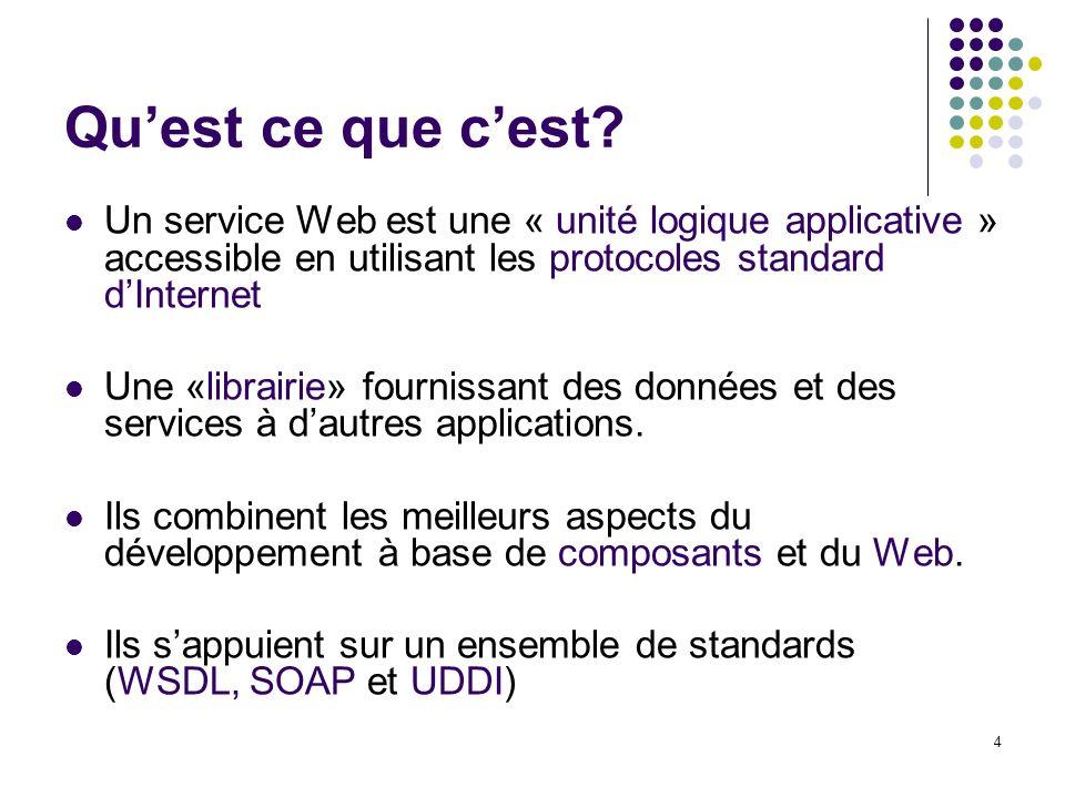 4 Quest ce que cest? Un service Web est une « unité logique applicative » accessible en utilisant les protocoles standard dInternet Une «librairie» fo