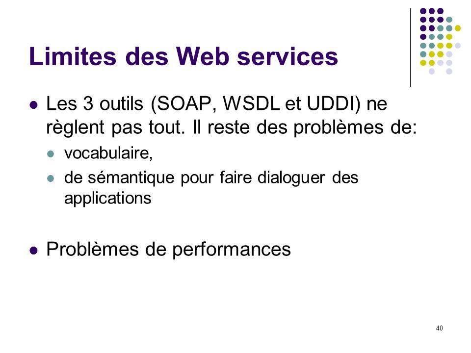40 Limites des Web services Les 3 outils (SOAP, WSDL et UDDI) ne règlent pas tout. Il reste des problèmes de: vocabulaire, de sémantique pour faire di