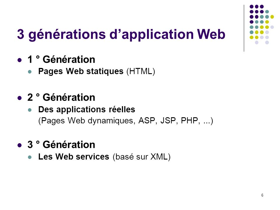 6 3 générations dapplication Web 1 ° Génération Pages Web statiques (HTML) 2 ° Génération Des applications réelles (Pages Web dynamiques, ASP, JSP, PH