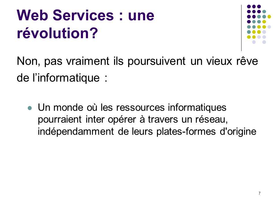 7 Web Services : une révolution? Non, pas vraiment ils poursuivent un vieux rêve de linformatique : Un monde où les ressources informatiques pourraien